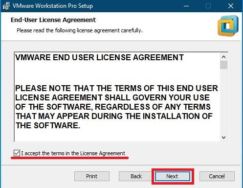 لایسنس و شرایط در VMWare Workstation