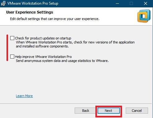 تنظیمات نصب vmware workstation