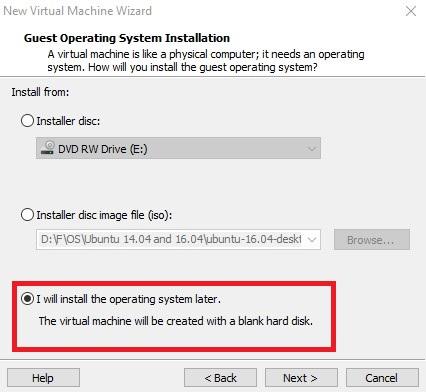 تنظیمات سیستمعامل در ماشین مجازی
