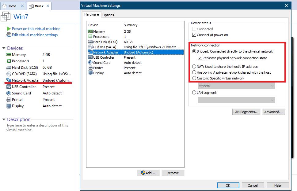 انتخاب نوع کارتشبکه و تنظیمات شبکه