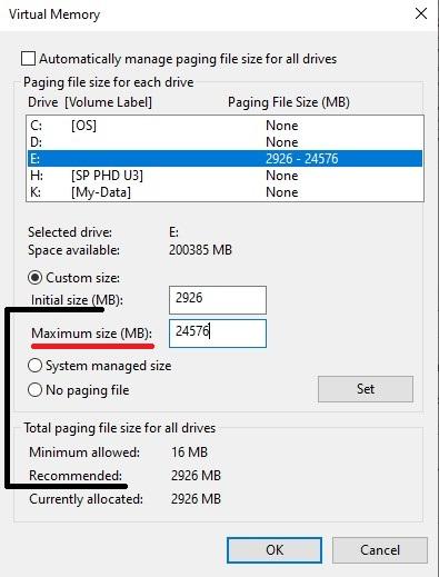 تنظیمات page file