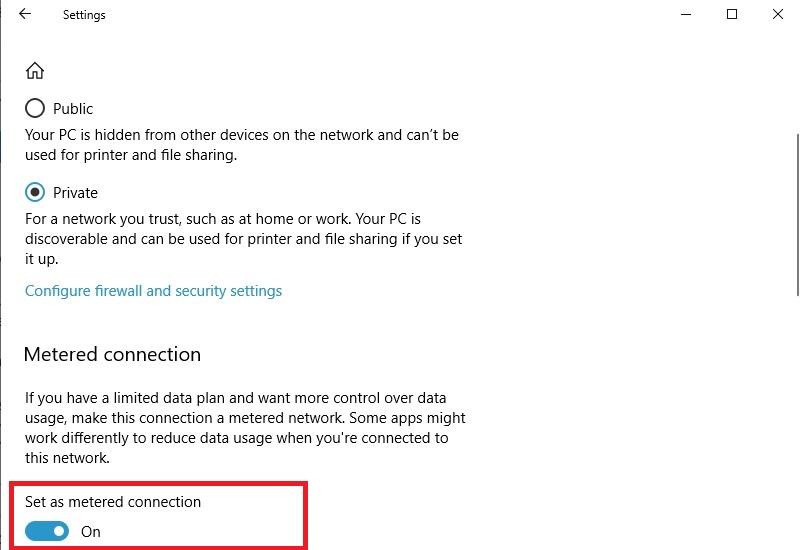 فعال کردن metered connection در ویندوز 10