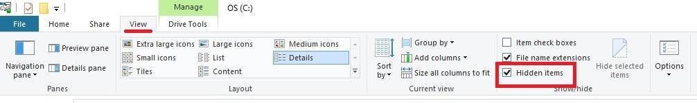 نمایش فایلهای مخفی ویندوز