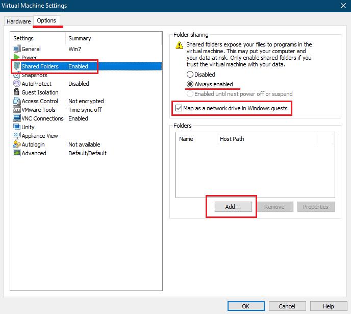 share در vmware workstation
