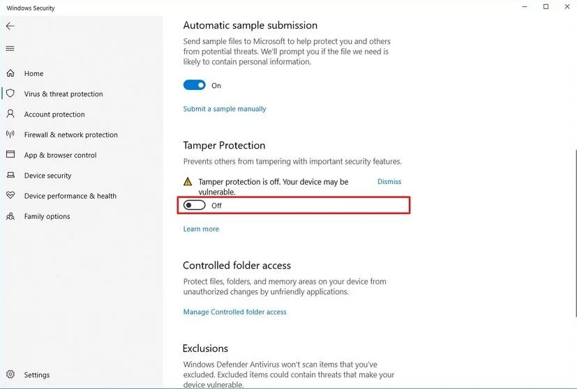 غیرفعال کردن Tamper Protection در ویندوز 10
